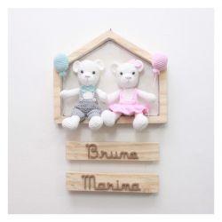 Ursinhos Gêmeos na Casinha - Porta Maternidade