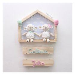 Gêmeos na Casinha - Ovelhas - Porta Maternidade