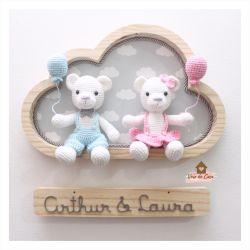 Ursinhos Gêmeos - Nuvem Grande - Porta Maternidade