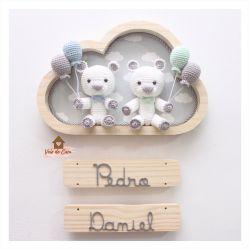 Ursinhos Gêmeos - Nuvem Média - Porta Maternidade