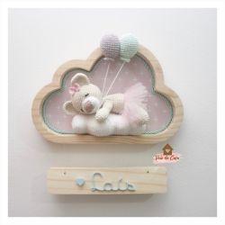 Ursinha Bailarina Dormindo - Nuvem P - 2 balões - Porta Maternidade