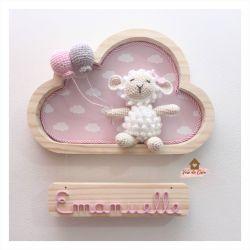 Ovelha Menina - Nuvem P - Porta Maternidade