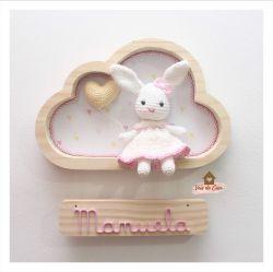 Coelhinha - 1 coração - Nuvem P - Porta Maternidade