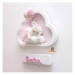 Ovelha Dormindo - 2 balões - Nuvem Branca - Porta Maternidade
