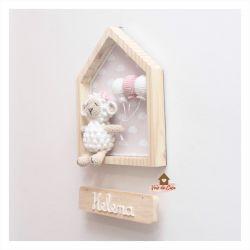 Ovelha na Casinha - 3 balões - Porta Maternidade