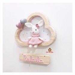 Coelhinha - 2 corações - Nuvem P - Porta Maternidade