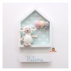 Ovelha - 3 balões - Casinha Branca - Porta Maternidade
