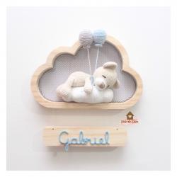Ursinho Dormindo - Nuvem P - 2 balões - Porta de Maternidade