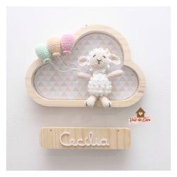 Ovelha Menina - 3 balões - Nuvem P - Porta Maternidade