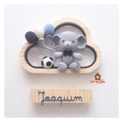 Elefantinho Futebol - 3 balões - Nuvem P - Porta Maternidade