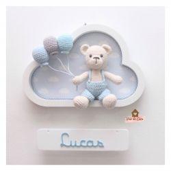 Ursinho - 3 balões - Nuvem Branca - Porta Maternidade