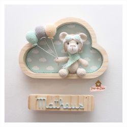 Ursinho Aviador - Nuvem P  - 3 balões - Porta de Maternidade