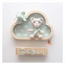 Ursinho Aviador - Nuvem P - Porta de Maternidade