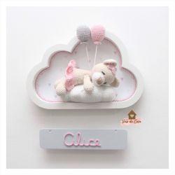 Ursinha Dormindo - 2 Balões - Nuvem Branca - Placa cinza - Porta Maternidade