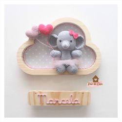 Elefantinha Bailarina- Nuvem P - Balões de Coração - Porta Maternidade