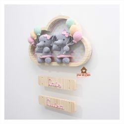 Elefantinhas Gêmeas - Nuvem Grande - Porta Maternidade