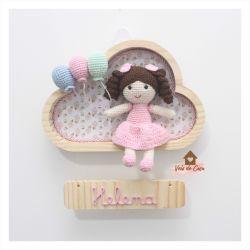 Boneca - 3 balões - Nuvem P - Porta Maternidade