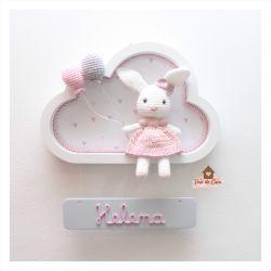 Coelhinha - Nuvem Branca - Placa Colorida - Porta Maternidade