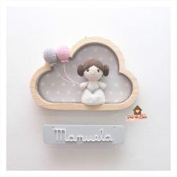 Princesa Leia - Nuvem P  - Placa Colorida - Porta Maternidade
