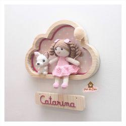 Boneca com Cachorrinho - 1 balão - Nuvem M - Porta Maternidade