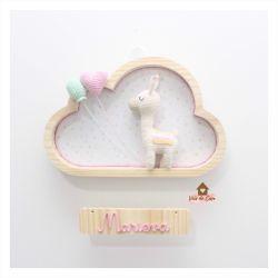 Lhama - Balão e Coração - Nuvem G - Porta Maternidade