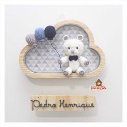 Ursinho - 3 balões - Nuvem P - Porta Maternidade
