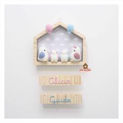 Passarinhos - Casinha - 2 filhos - 2 placas - Porta Maternidade