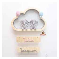 Elefantinhos Gêmeos - Nuvem M - Porta Maternidade