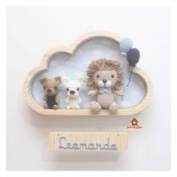 Leão com 2 Cachorrinhos - Nuvem G - Porta Maternidade