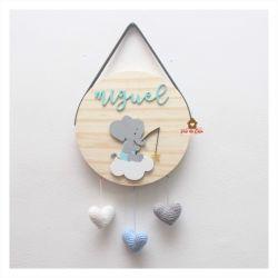 Elefantinho - Corações - Círculo - Porta de Maternidade