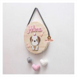 Cachorrinho - Corações - Círculo - Porta de Maternidade