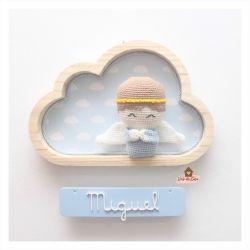 Anjo - Nuvem M - Placa Colorida - Porta Maternidade