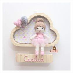 Bailarina - 1 coração e 1 balão - Nuvem P - Porta Maternidade