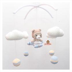 Móbile Urso Aviador  - Nuvens + Bolinhas