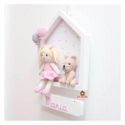 Boneca  com Cachorrinho - Casinha Branca - Porta Maternidade