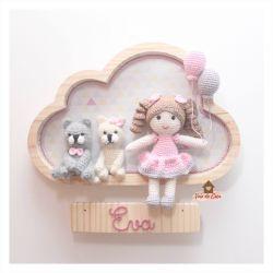 Boneca com 2 Pets - Nuvem G - Porta Maternidade