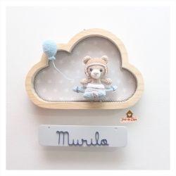 Urso Aviador - Nuvem P  - Placa Colorida - Porta de Maternidade