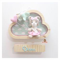 Ursinha Aviadora - Nuvem P - Avião + coração - Porta de Maternidade