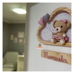 Ursinha - 2 corações  - Nuvem M - Porta Maternidade