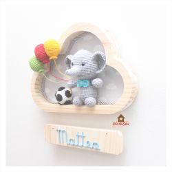 Elefante Futebol - 3 balões - Nuvem P - Porta Maternidade