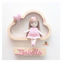 Boneca Cabelo Liso - 1 coração - Nuvem P - Porta Maternidade