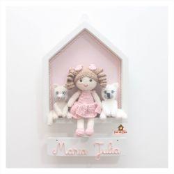 Boneca com 2 Pets - Casinha Branca - Porta Maternidade