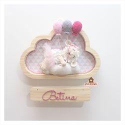 Ovelha Bailarina Dormindo - 3 balões - Nuvem P - Porta Maternidade
