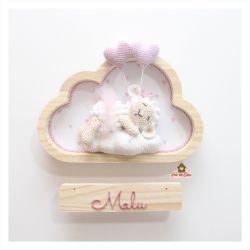 Ovelha Bailarina Dormindo - 2 corações - Nuvem P - Porta Maternidade