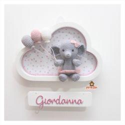 Elefantinha  - 3 balões - Nuvem Branca - Porta Maternidade