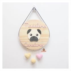 Pug - Corações Crochê - Círculo - Porta de Maternidade