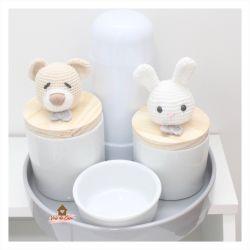 Kit Higiene - 5 peças - Urso e Coelho