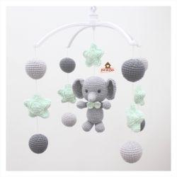Móbile Elefantinho  - Estrelas + Bolinhas