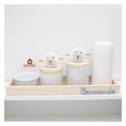 Kit Higiene - 5 peças - Ovelha- Bandeja Madeira