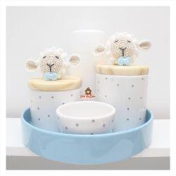Ovelha - Menino - Kit Higiene Poá - 5 peças - Bandeja Redonda